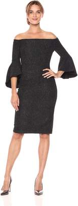 Eliza J Women's Off The Shoulder Bell Sleeve Sheath, Black/Silver