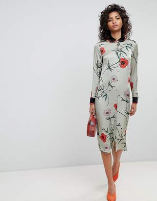 Ghost long sleeve shirt dress in floral print