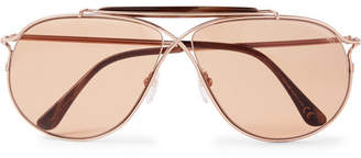 Tom Ford Tom N.6 Aviator-Style Rose Gold-Tone and Acetate Sunglasses