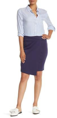 14th & Union Faux Wrap Ponte Skirt (Regular & Petite)
