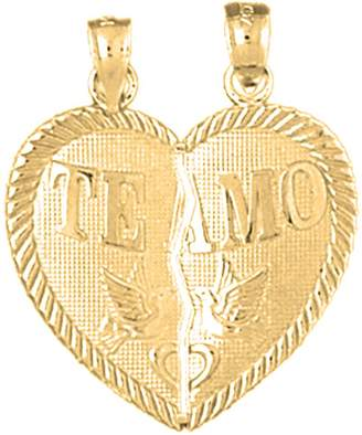 Amo NecklaceObsession Gold-plated 925 Silver 25mm Te Breakable Heart Pendant Necklace