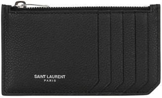 Saint Laurent Fragments Leather Zip Card Holder