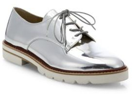 Stuart Weitzman Metro Metallic Leather Oxfords $445 thestylecure.com