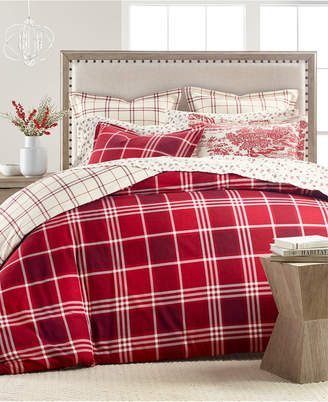 Martha Stewart Collection Ticking Plaid Flannel Twin Duvet Cover