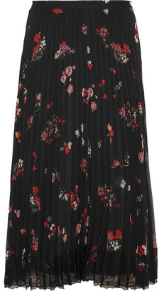 REDValentino - Pleated Floral-print Chiffon Skirt - Black $975 thestylecure.com