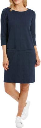 Regatta 3/4 Slv Textured Knit Dress With Pockets-Blues