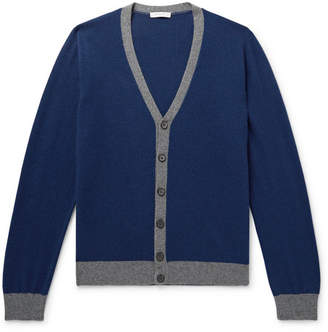 Boglioli Two-Tone Wool and Cashmere-Blend Cardigan - Men - Navy