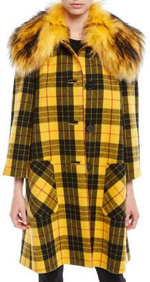 Michael Kors Button-Front Plaid Wool Coat w/ Faux-Fur Collar
