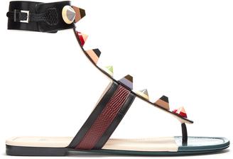 FENDI Embellished leather sandals $800 thestylecure.com