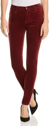 J Brand Maria Velvet Skinny Jeans in Oxblood