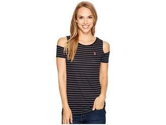 U.S. Polo Assn. Striped Open Shoulder T-Shirt Women's T Shirt