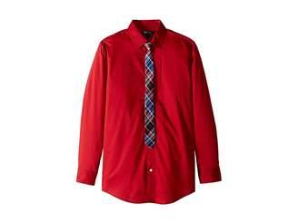 Tommy Hilfiger Stretch Solid Shirt w/ Tie (Big Kids)