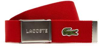 Lacoste Men's Made in France Edition Engraved Buckle Woven Belt