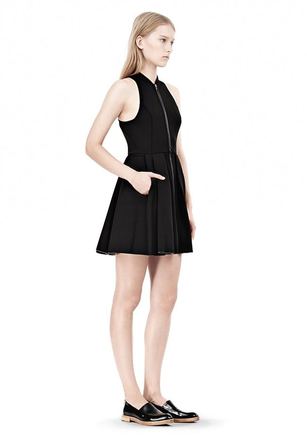 Alexander Wang Exclusive Leather Trim Jersey Bonded Neoprene Dress