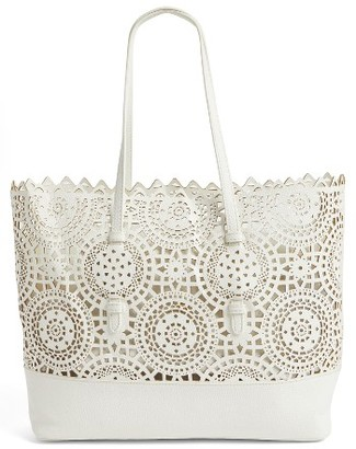 Shiraleah Helena Perforated Faux Leather Tote - White $58 thestylecure.com