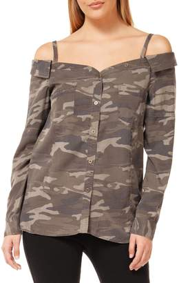 Dex Camouflage Cold-Shoulder Button-Down Shirt