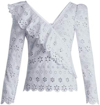 Self-Portrait Ruffle-trim broderie-anglaise top