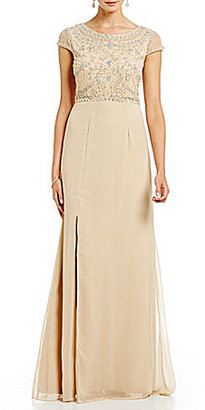 Adrianna Papell Cap Sleeve Beaded Bodice Gown $199 thestylecure.com