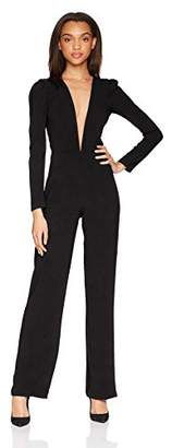 Dress the Population Women's Drew Long Sleeve Plunging Jumpsuit
