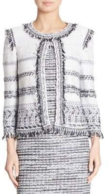St. John Fringed Tweed Jacket