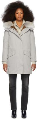 Yves Salomon Army Grey Down and Fur Cotton Parka