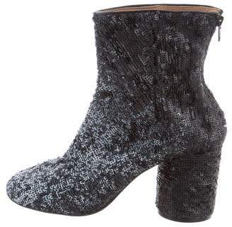 Maison Margiela Sequined Round-Toe Ankle Boots