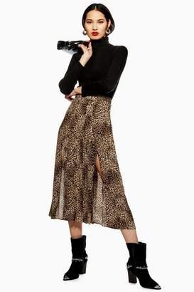 Topshop Womens Leopard Print Box Pleat Midi Skirt