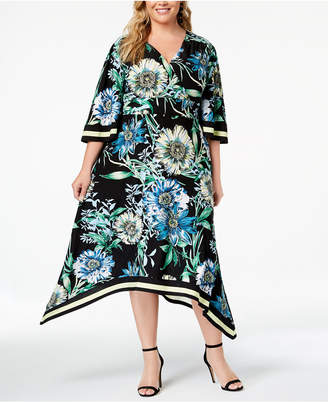 INC International Concepts I.n.c. Plus Size Handkerchief-Hem Midi Dress, Created for Macy's