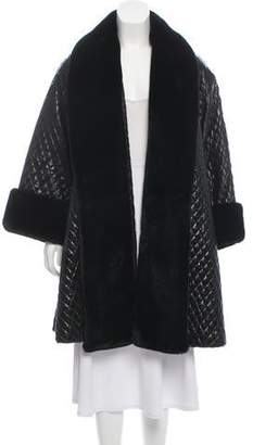 Adrienne Landau Quilted Faux-Fur Trimmed Coat