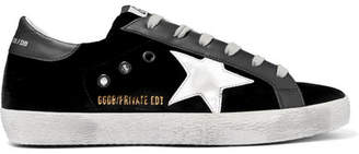 Golden Goose Superstar Distressed Velvet And Leather Sneakers - Black