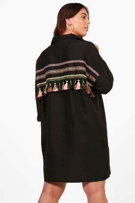 boohoo Plus Paige Tassel Trim Back Shirt Dress