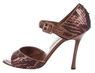 Manolo Blahnik Sequined d'Orsay Pumps