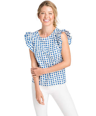 Vineyard Vines Painterly Grid Ruffle Sleeveless Top