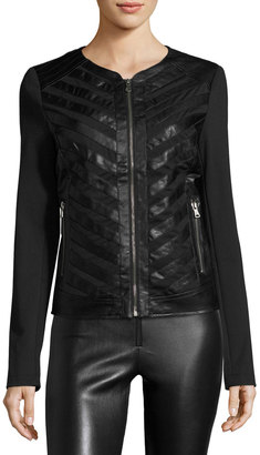 P. Luca Vegan Leather-Strip Jacket, Black $100 thestylecure.com