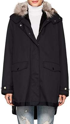 Barneys New York Women's Fur-Lined Twill Jacket - Navy