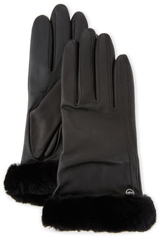 UGG UGG Classic Leather Smart Gloves, Black