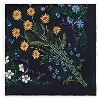 Gucci Men's Floral Silk Twill Pocket Square - Lt. Blue