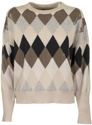 Brunello Cucinelli Virgin Wool, Cashmere And Silk Dazzling Argyle Sweater