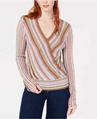 Bar III Metallic Surplice Pullover Sweater