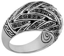 John Hardy Classic Chain Silver Dome Ring with Black Sapphire & Black Spinel