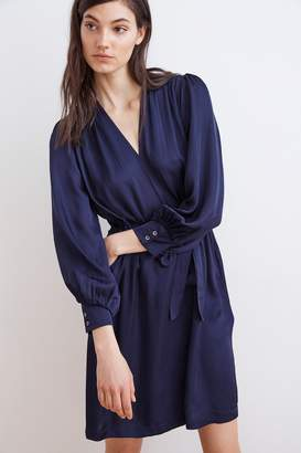 Velvet by Graham & Spencer CHARIS SATIN VISCOSE WRAP DRESS