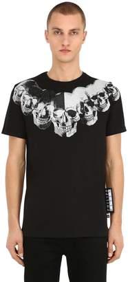 Philipp Plein Print & Embellished Skull Cotton T-Shirt