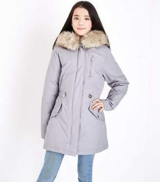New Look Teens Grey Faux Fur Trim Hooded Parka