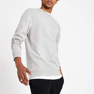 River Island Grey marl slim fit crew neck sweatshirt
