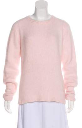 Brandon Maxwell Lightweight Angora-Blend Sweater Pink Lightweight Angora-Blend Sweater