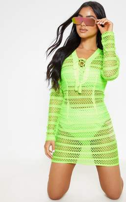 PrettyLittleThing Petite Neon Lime Crochet Lace Up Mini Dress