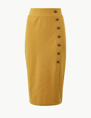 Marks and Spencer Ribbed Jersey A-Line Midi Skirt