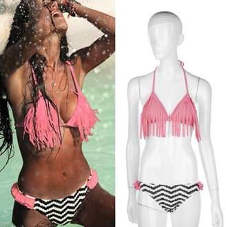 TRY Sexy Women Bandage Pushing-up Bikini Set Padded Bra Fringed Swimsuit S