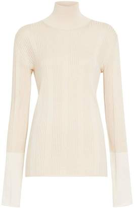 Burberry Rib Knit Silk Turtleneck Sweater