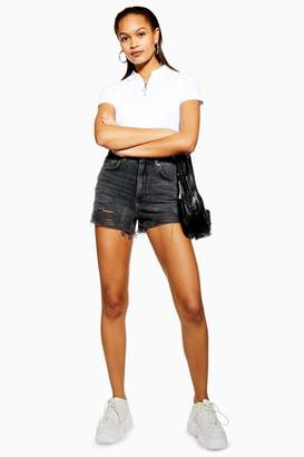 Topshop Womens Petite Washed Black Ripped Mom Shorts - Washed Black